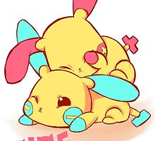 Plusle & Minun by PsychoDelicia