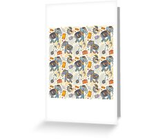 Colorful Tribal Paisley Elephant Pattern Greeting Card