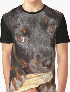 Rottweiler Puppy Chewing a Treat Graphic T-Shirt