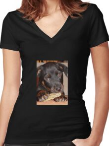 Rottweiler Puppy Chewing a Treat Women's Fitted V-Neck T-Shirt