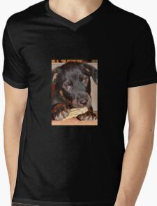 Rottweiler Puppy Chewing a Treat Mens V-Neck T-Shirt
