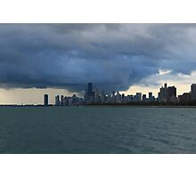 Chicago City Skyline from Montrose Harbor Photographic Print