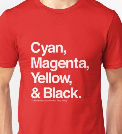 Cyan, Magenta, Yellow & Black (White) Unisex T-Shirt