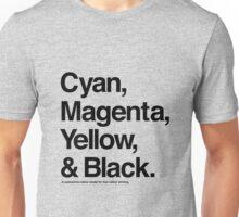 Cyan, Magenta, Yellow & Black (Black) Unisex T-Shirt