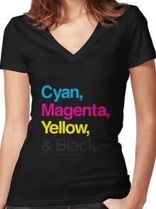 Cyan, Magenta, Yellow & Black Women's Fitted V-Neck T-Shirt