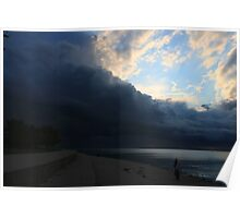 Stormy Sunrise in Chicago's Montrose Harbor Poster
