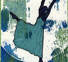 Dancer-aqua by Sandy  Coleman