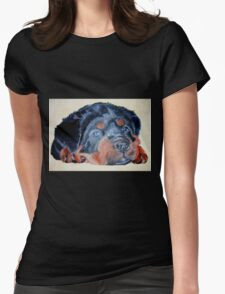 Rottweiler Puppy Portrait Womens Fitted T-Shirt