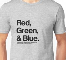 Red, Green & Blue (Black) Unisex T-Shirt