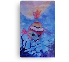A lone little clown fish. watercolor Metal Print
