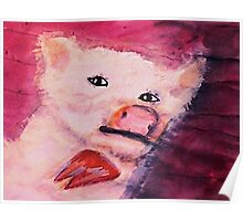 This little piggy went to market, watercolor Poster
