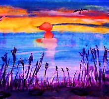 Sunset over the Reeds, watercolor by Anna  Lewis