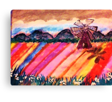 Our local flower fields, watercolor Canvas Print