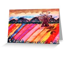Our local flower fields, watercolor Greeting Card