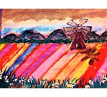 Our local flower fields, watercolor Photographic Print