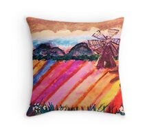Our local flower fields, watercolor Throw Pillow