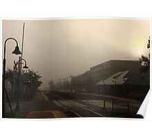 A foggy morning at the Berwyn, IL train station Poster