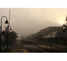 A foggy morning at the Berwyn, IL train station Photographic Print