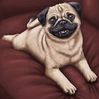 Red Sofa Pug by Justin Lewis