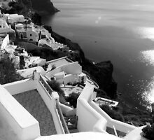 Santorini Cliffs, Houses & Caldera ~ Black & White by Lucinda Walter