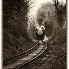 Train Coming Down the Track, Monochrome by KellyHeaton