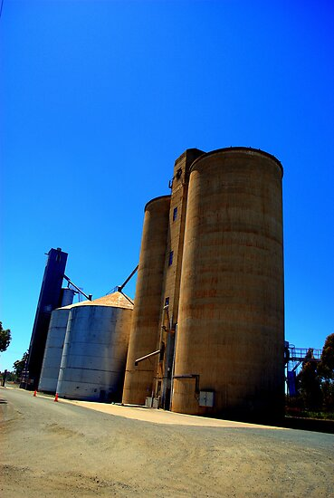 Wheat Silos At Elmore by Lozzar Landscape