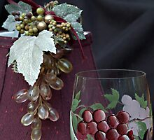 Burgundy Wine and Grapes by Sherry Hallemeier