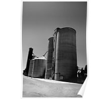 Silos at Elmore in B&W Poster