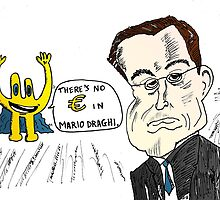 Mario Draghi cariacture with Euroman by Binary-Options