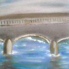 Pavia Covered Bridge - En Plein Air Painting by Nicla Rossini