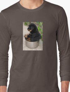 Rottweiler Puppy Sitting In A Bowl Of Food Long Sleeve T-Shirt