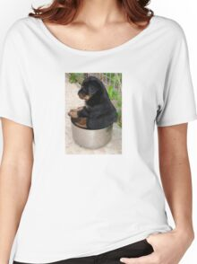 Rottweiler Puppy Sitting In A Bowl Of Food Women's Relaxed Fit T-Shirt