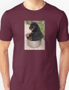 Rottweiler Puppy Sitting In A Bowl Of Food Unisex T-Shirt