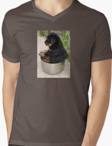 Rottweiler Puppy Sitting In A Bowl Of Food Mens V-Neck T-Shirt