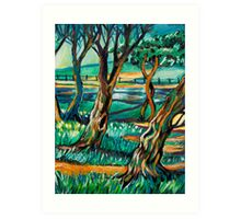Park View In Blue Art Print