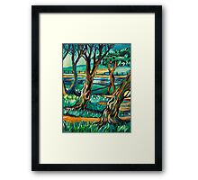 Park View In Blue Framed Print