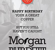 Morgan Burdett Copper Birthday Card by springwoodbooks