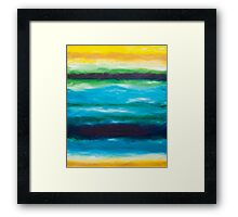 Strata Series, Fate Line, Blue and Yellow Framed Print