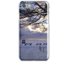 """""""Snow Stopped Play"""" Sewerby Cricket Club - Bridlington East Yorkshire iPhone Case/Skin"""