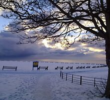 """Snow Stopped Play"" Sewerby Cricket Club - Bridlington East Yorkshire by Merice Ewart Marshall - LFA"