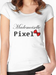 mademoiselle pixel Women's Fitted Scoop T-Shirt
