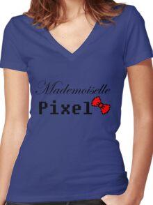 mademoiselle pixel Women's Fitted V-Neck T-Shirt