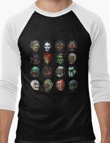 Horror Movie Monster Masks (color) Men's Baseball ¾ T-Shirt