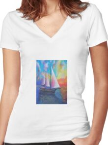 Bodrum Turquoise Coast Gulet Cruise Women's Fitted V-Neck T-Shirt