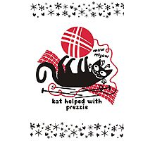Funny cat knitting needle crochet hook yarn Christmas Photographic Print