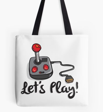 Old School Gaming Joystick - Let's Play Tote Bag