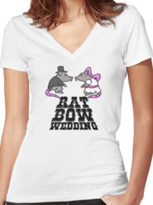 rat, wedding, bow Women's Fitted V-Neck T-Shirt