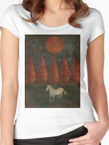 Pony And Tree And Moon Women's Fitted Scoop T-Shirt