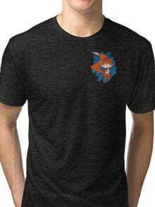 Cute Fox with Christmas Hat & Scarf Tri-blend T-Shirt