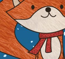 Cute Fox with Christmas Hat & Scarf Sticker